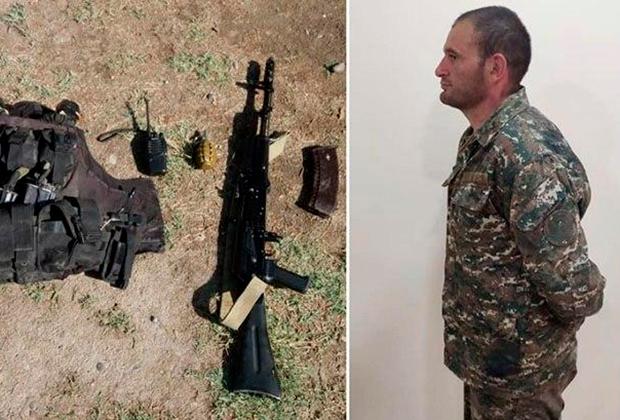 Минобороны Азербайджана показало снаряжение плененного армянского командира, старшего лейтенанта Гургена Алавердяна.