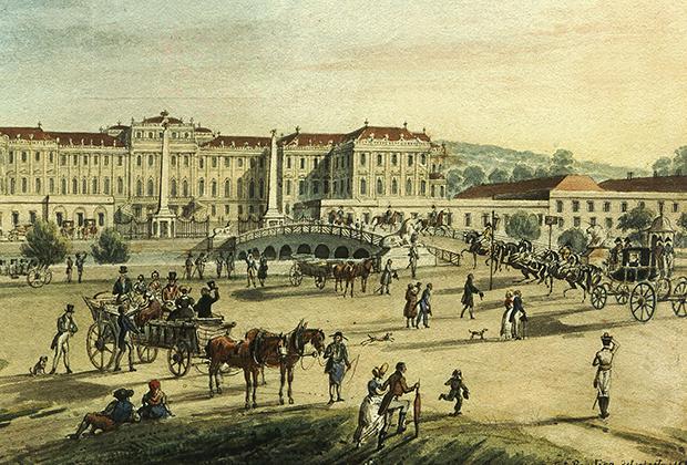 Гравюра XIX века с изображением дворца Шенбрунн