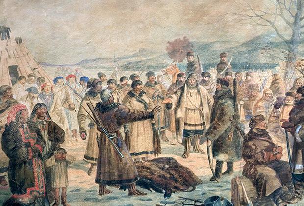 Неизвестный художник «Сбор ясака казаками Енисейской губернии», XIX век
